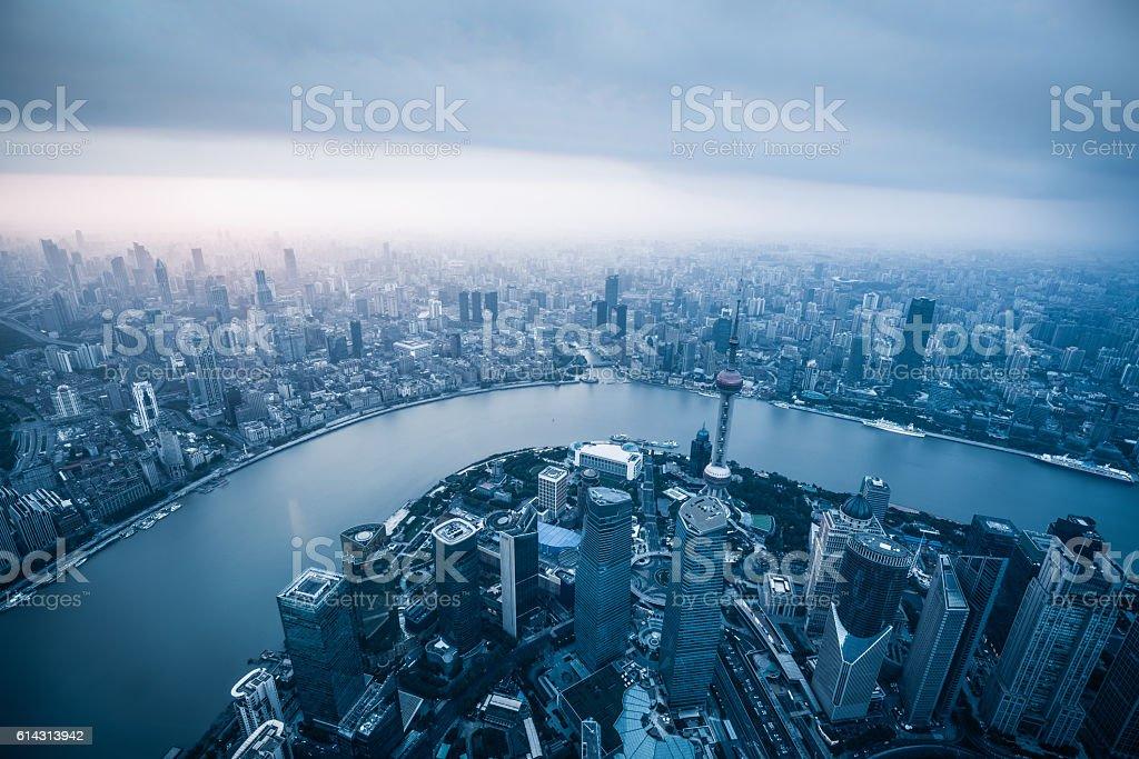 dramatic sky of shanghai skyline stock photo