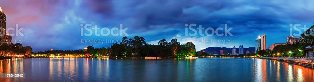 Dramatic sky over a water park in Fuzhou,China stock photo