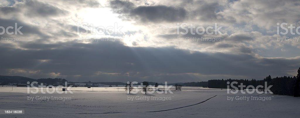 Dramatic sky over Allgäu in Germany Panorama stock photo