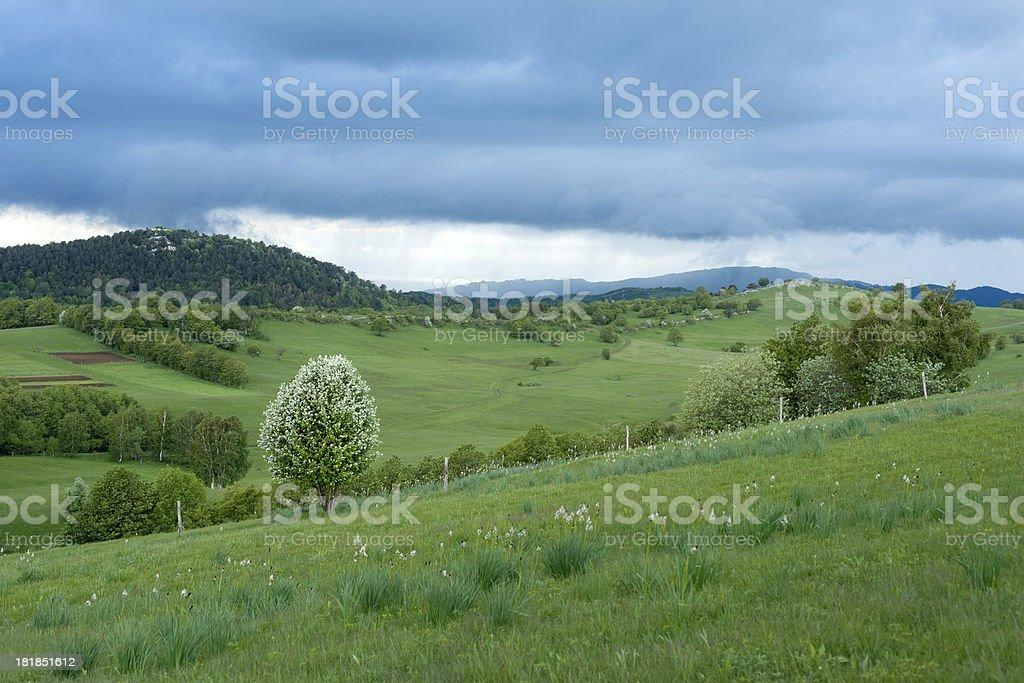 Dramatic Sky Over Banjsice Alps Slovenia royalty-free stock photo
