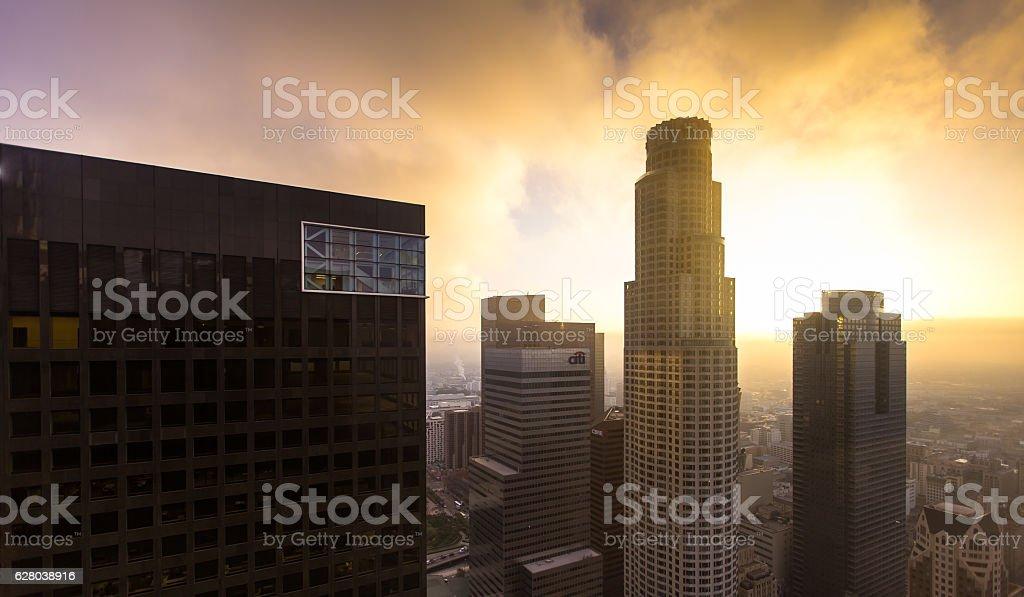 Dramatic Sky Over DTLA Skyscrapers stock photo