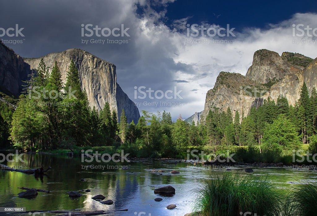 Dramatic Sky Over El Capitan, Yosemite National Park stock photo
