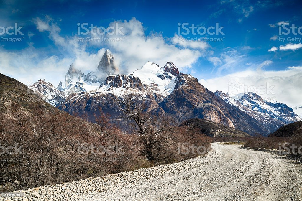 Dramatic sky over gravel road in Argentina Patagonia stock photo
