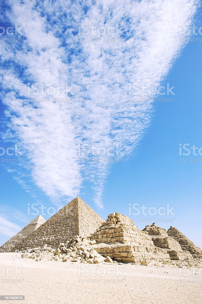 Dramatic Sky Over Great Pyramids of Egypt Giza Desert royalty-free stock photo