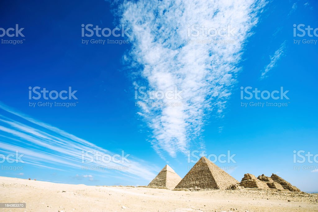 Dramatic Sky Over Great Pyramids of Egypt stock photo