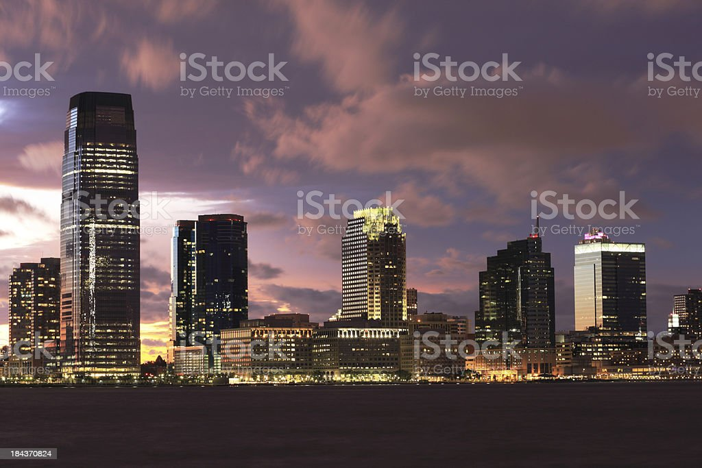 Dramatic Sky over Jersey City, NJ stock photo