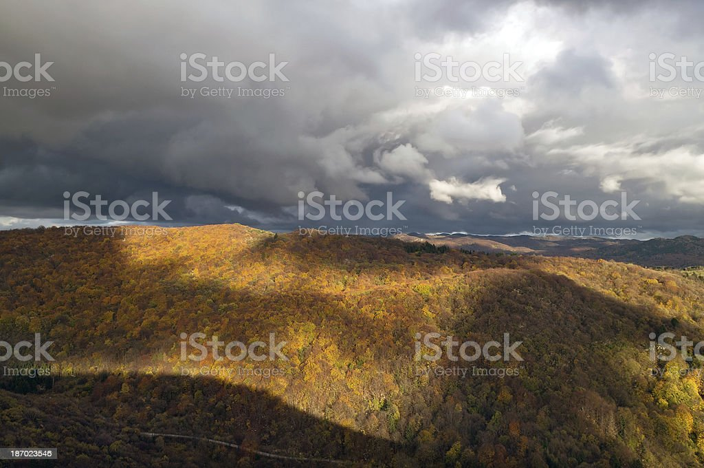 Dramatic Sky Over Kanalski Vrh Alps Slovenia royalty-free stock photo