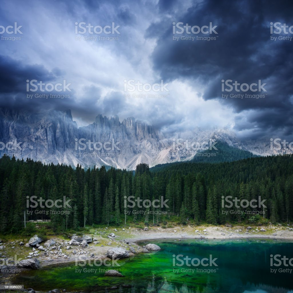 Dramatic sky over Lake in mountain stock photo