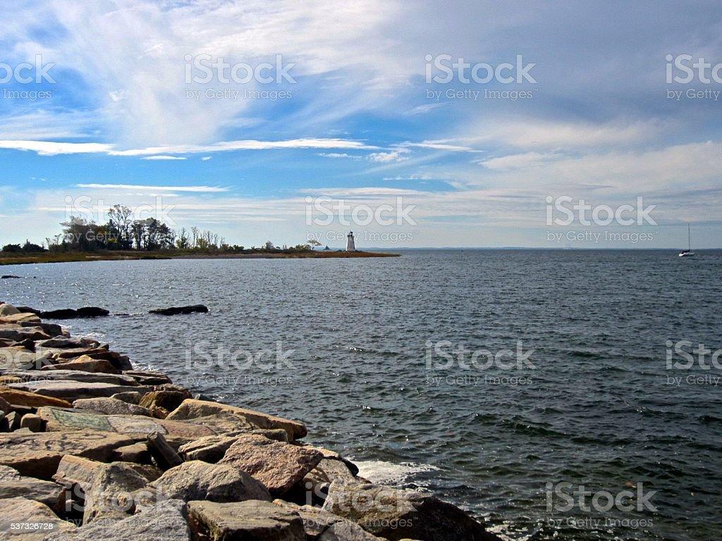 Dramatic Sky over Lighthouse stock photo