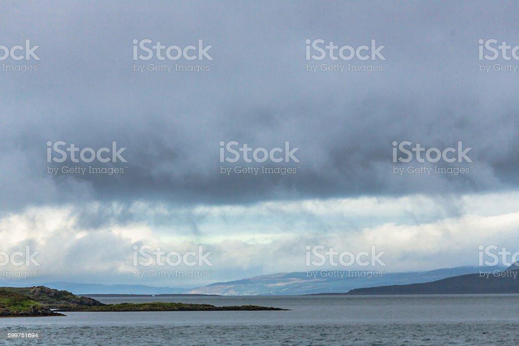 Dramatic Sky Over Oban Bay stock photo