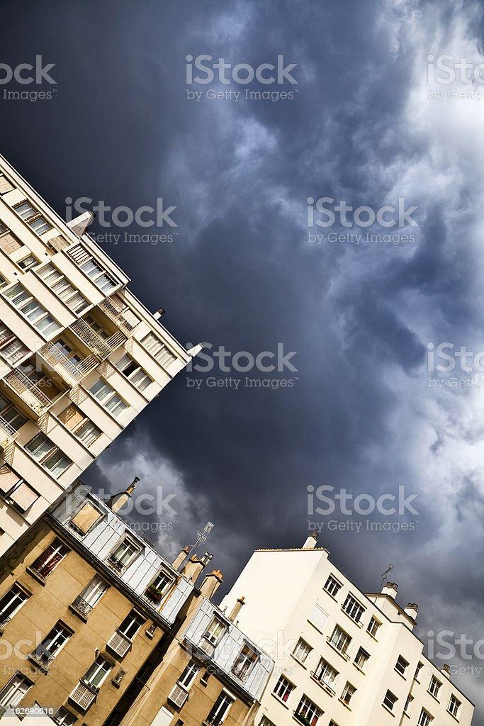 Dramatic sky over Paris royalty-free stock photo
