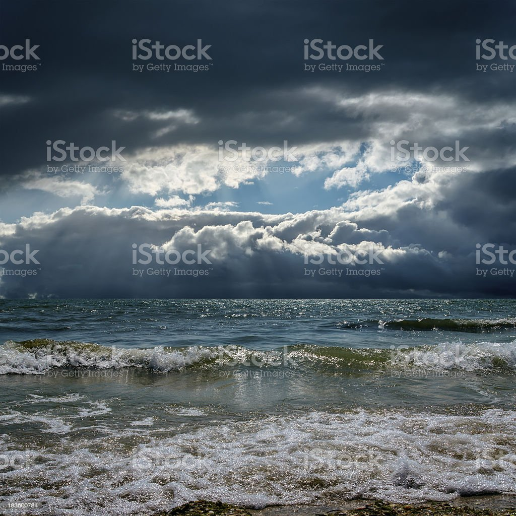 dramatic sky over stormy sea royalty-free stock photo