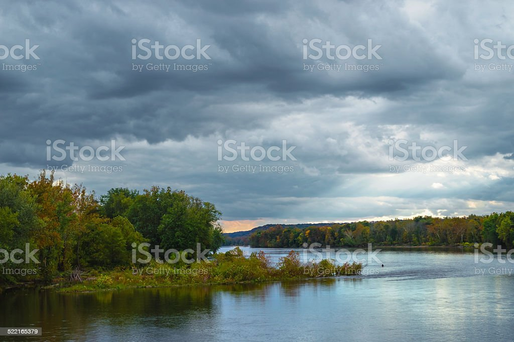Dramatic Sky Over the Delaware stock photo