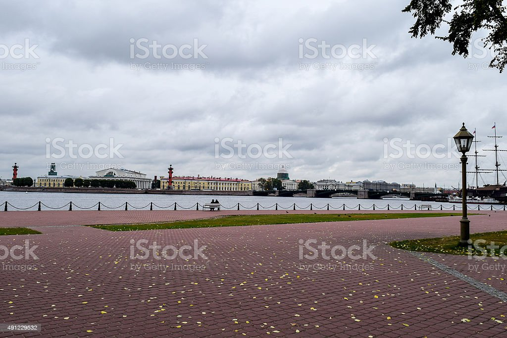Dramatic sky over the Neva river in St.Petersburg, Russia. stock photo