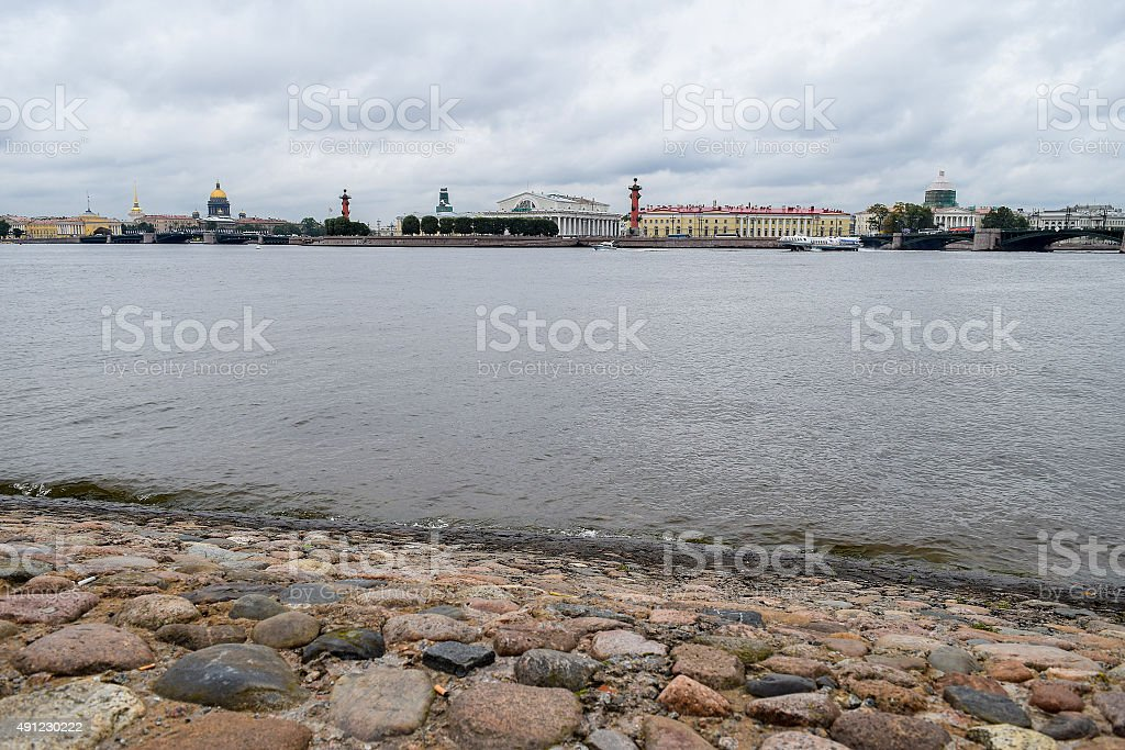 Dramatic sky over the Neva river in St.Petersburg, Russia stock photo