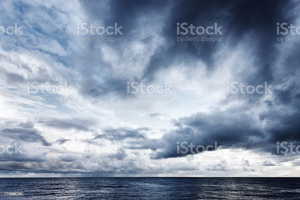 Dramatic sky over the sea stock photo
