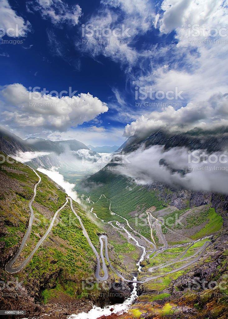Dramatic sky over Trollstigen, road of Trolls , Norway stock photo