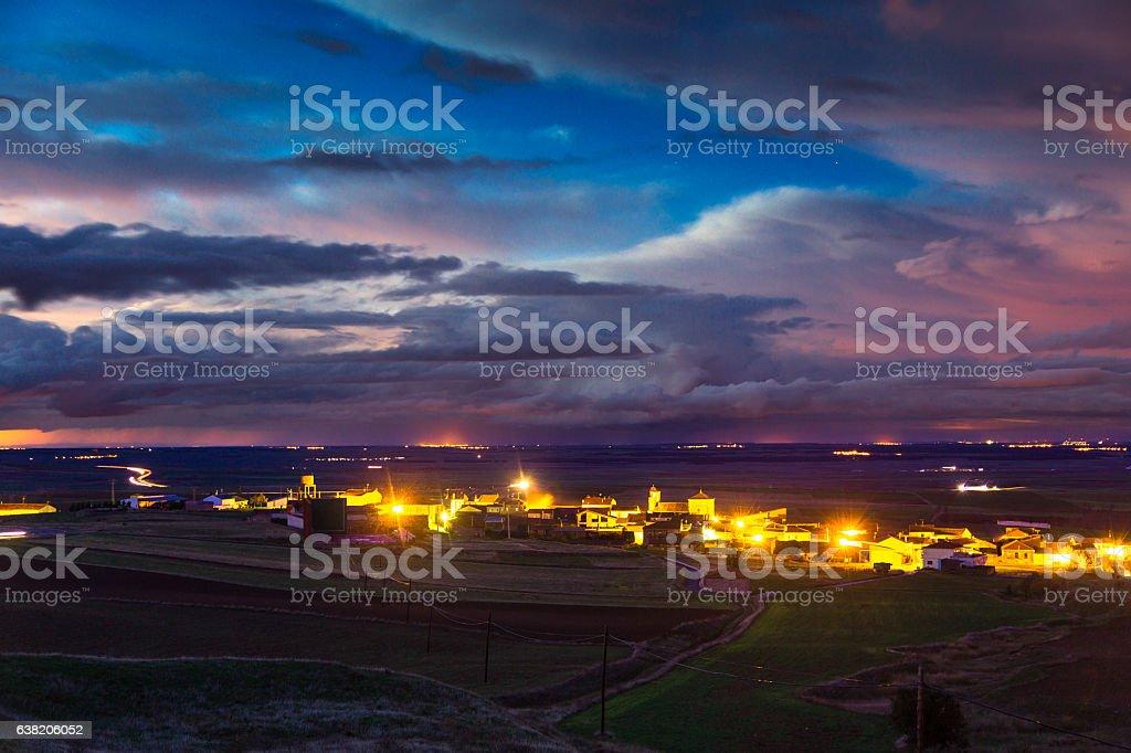 Dramatic Sky Over Village in Avila Province stock photo