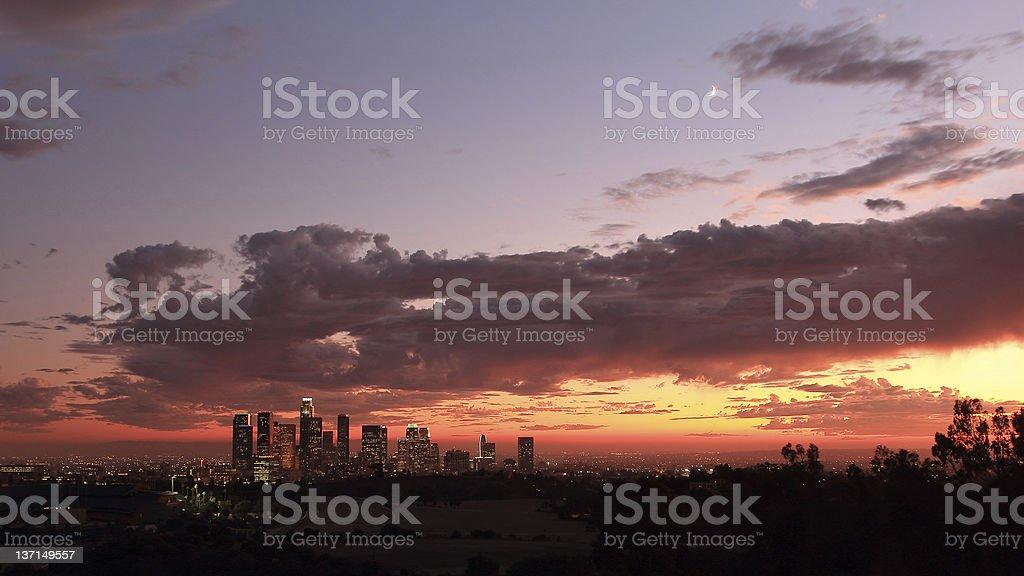 Dramatic Sky with Los Angeles Skyline stock photo