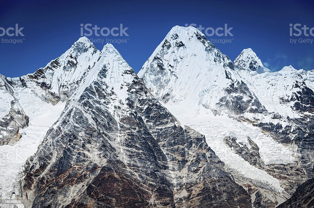 Dramatic snow capped peaks and glaciers Himalayas royalty-free stock photo