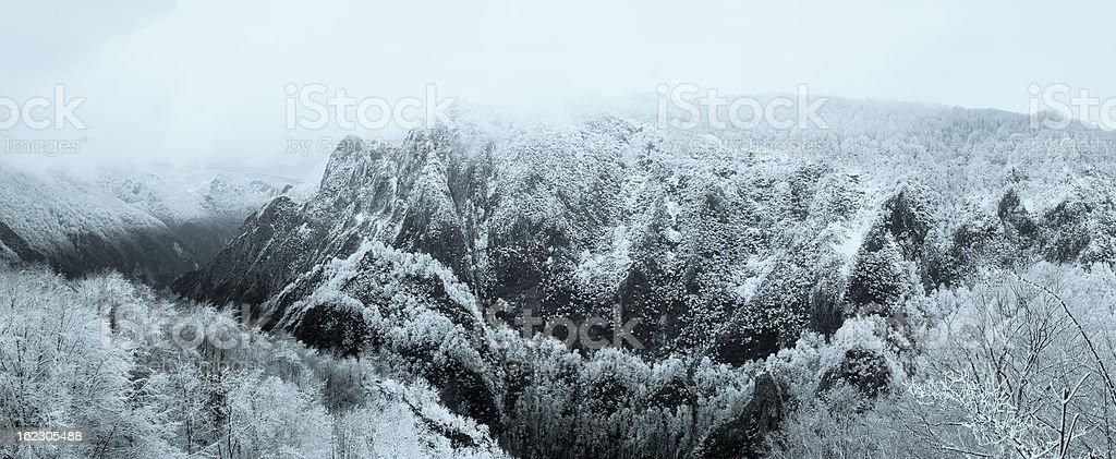 Dramatic snowy mountain panorama royalty-free stock photo