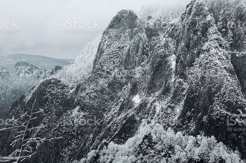 Dramatic snowy mountain royalty-free stock photo