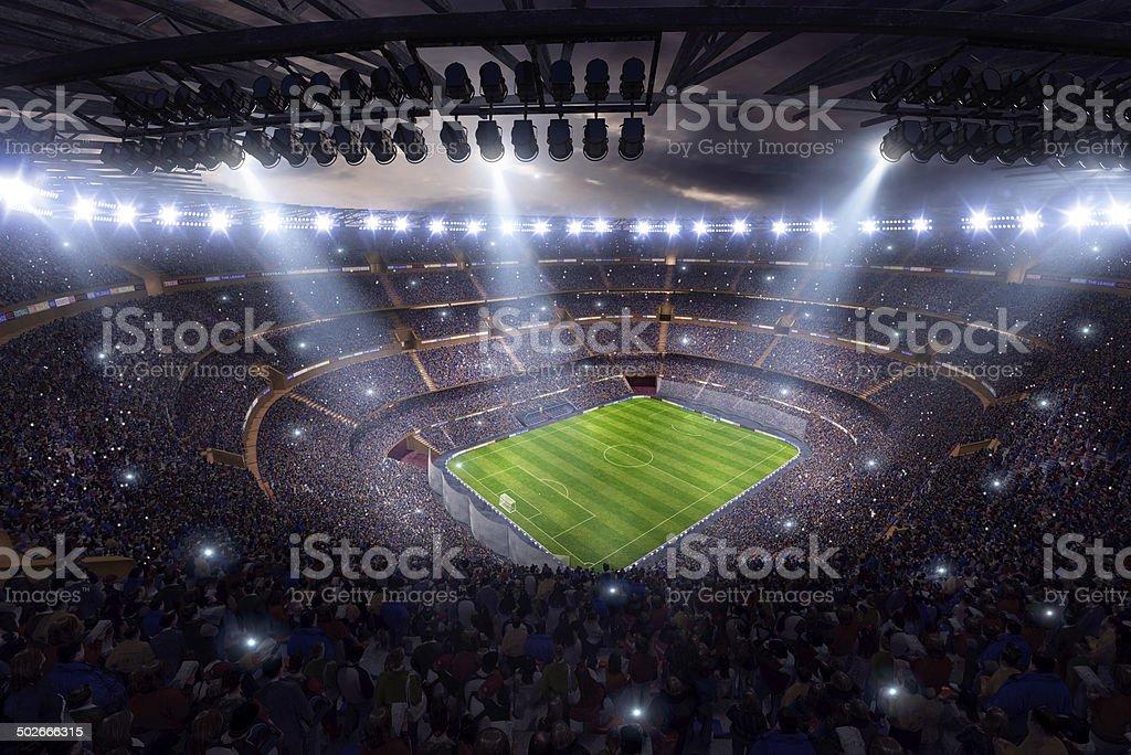 Dramatic soccer stadium 3d render stock photo