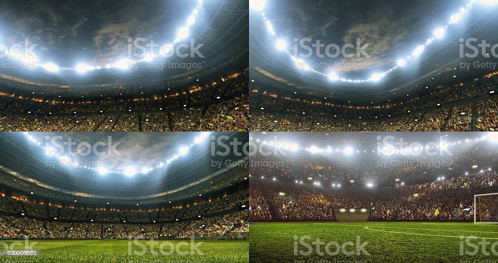 Dramatic soccer stadium full of spectators stock photo