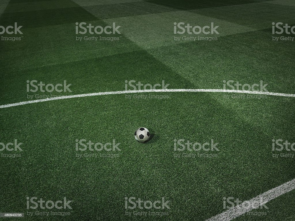 Dramatic soccer stadium grass royalty-free stock photo