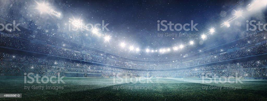 Dramatic soccer stadium panorama stock photo