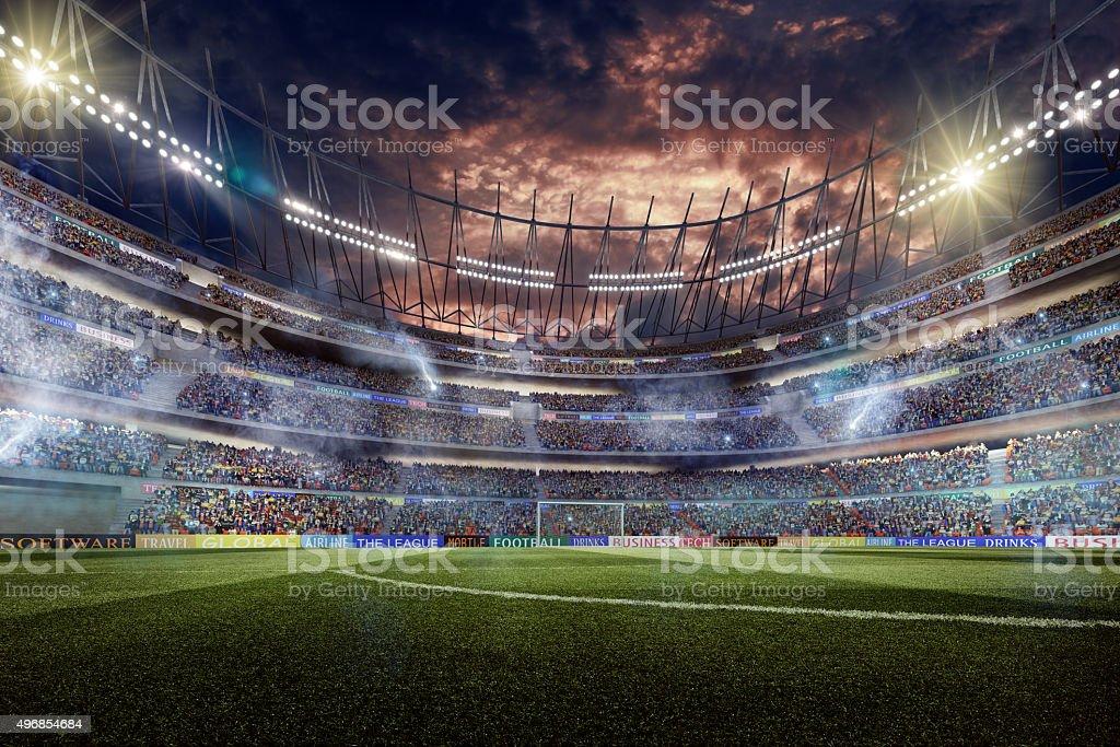 Dramatic soccer stadium stock photo