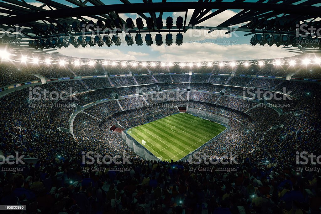 Dramatic soccer stadium upper view stock photo