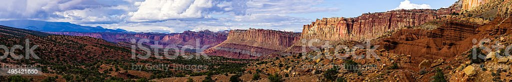 Dramatic Storm and Canyons Capitol Reef stock photo
