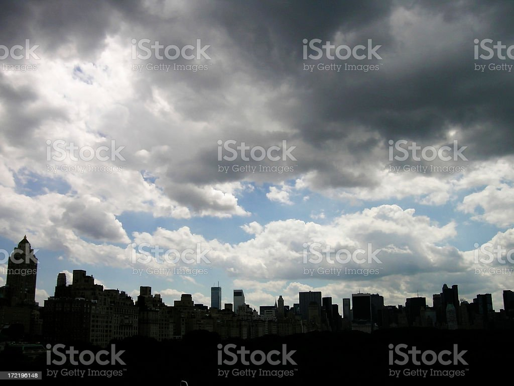 Dramatic Storm Clouds over NYC Skyline stock photo