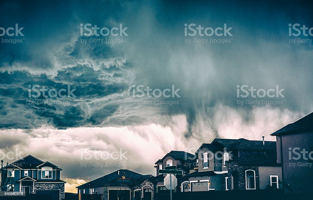 Dramatic storm clouds over residential neighborhood. Colorado, USA stock photo