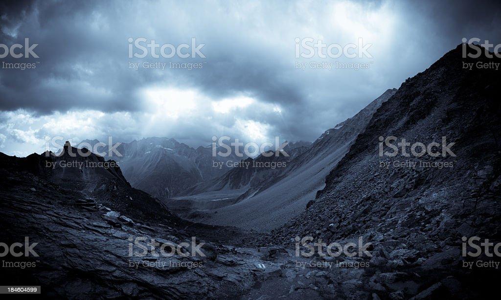 Dramatic storm in mountains, Valais, Switzerland stock photo