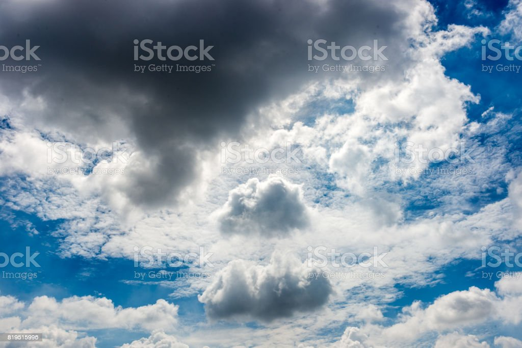 Dramatic stormy clouds on the sky stock photo