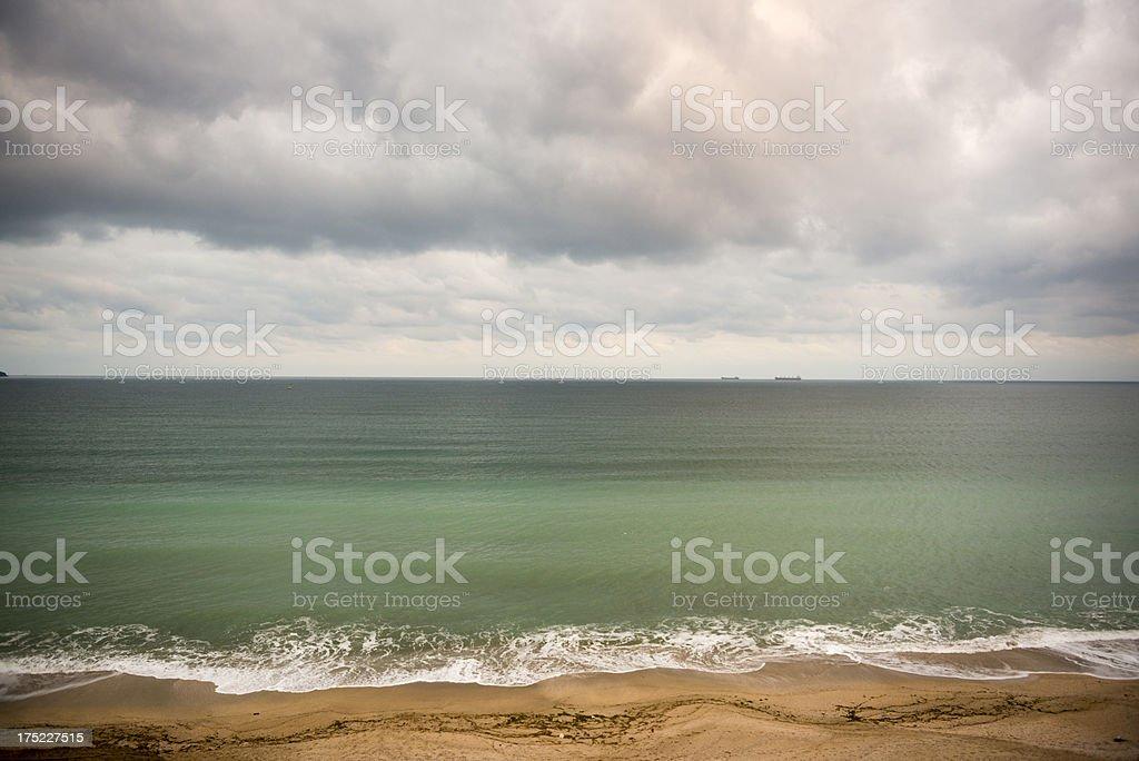 Dramatic, stormy sky approaching the beach, Igneada, Turkey royalty-free stock photo