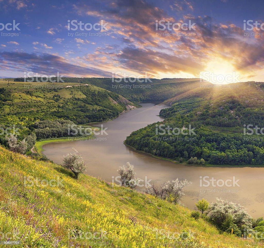 Dramatic summer sunrise near the river stock photo