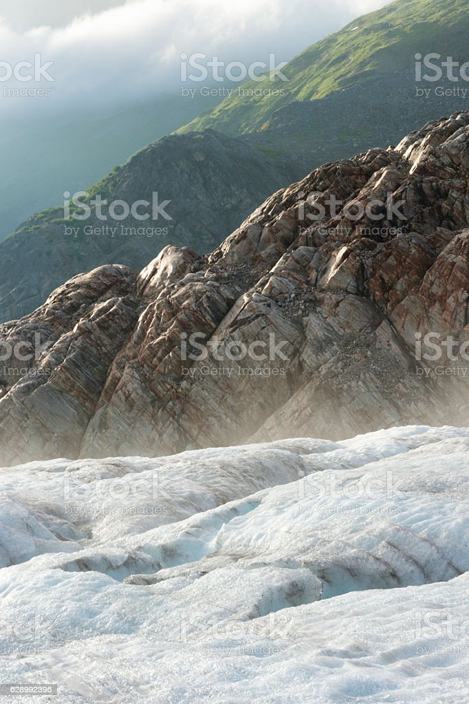 Dramatic sun rays on Lemon Glacier stock photo