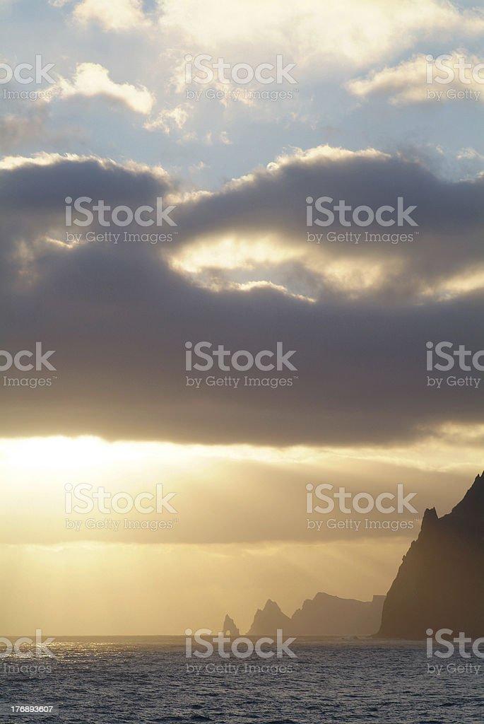 dramatic sunrise at the sea royalty-free stock photo
