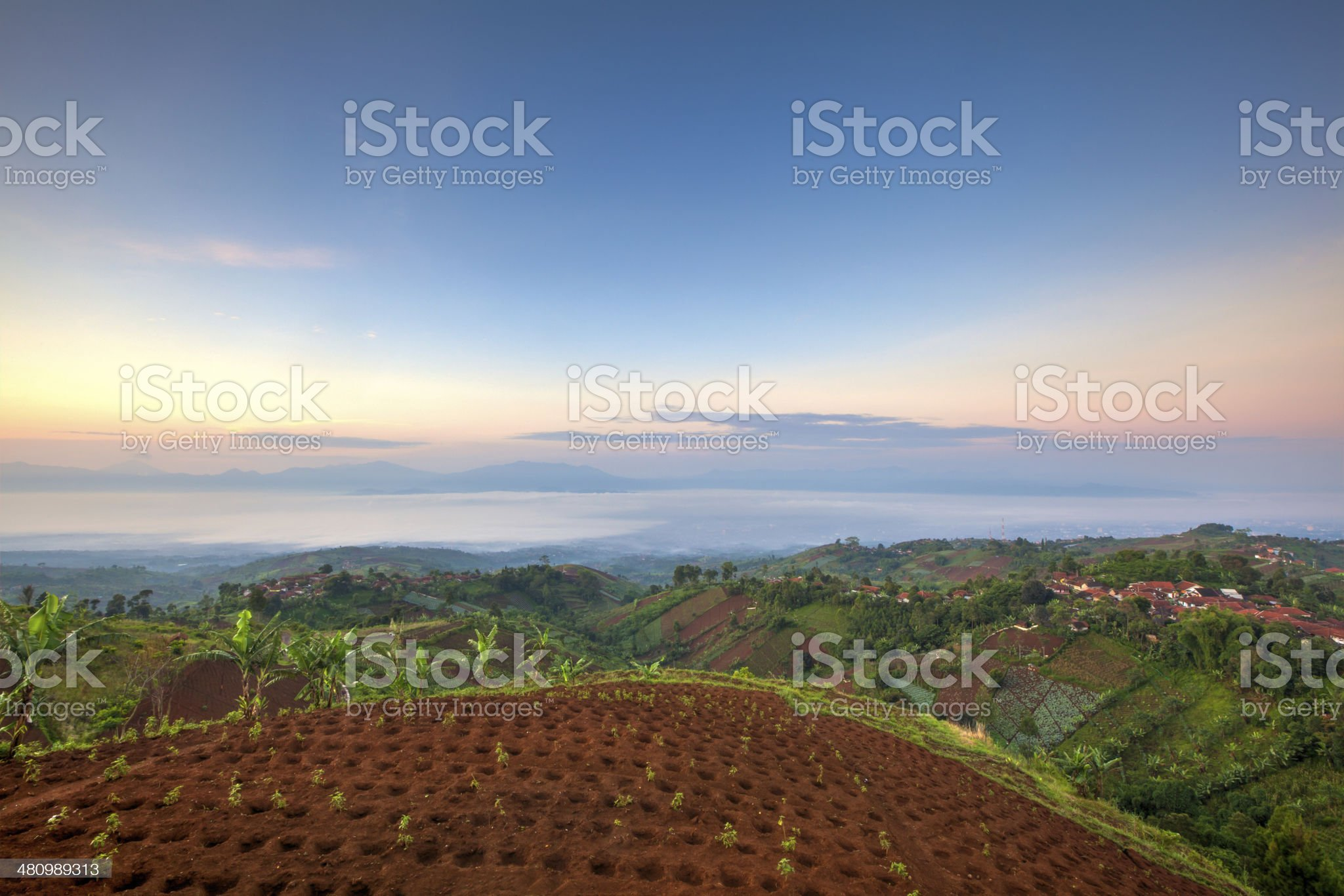 Dramatic sunrise from top of the hill royalty-free stock photo
