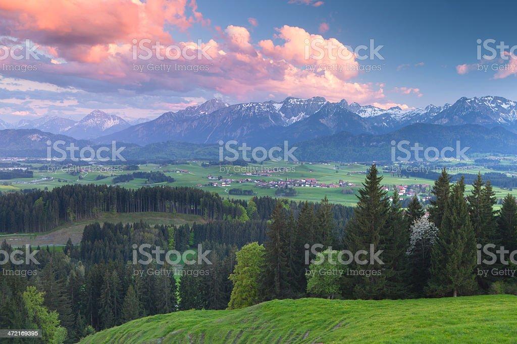 dramatic sunset above alpe beichlstein, allgau, bavaria stock photo