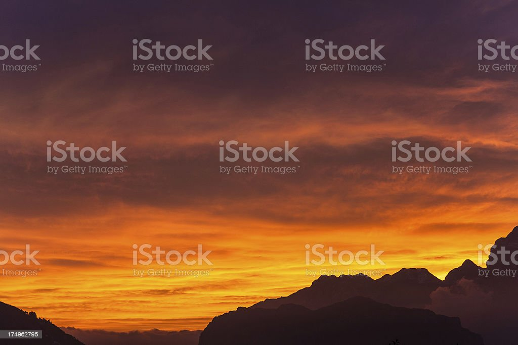 Dramatic Sunset and Mountains royalty-free stock photo