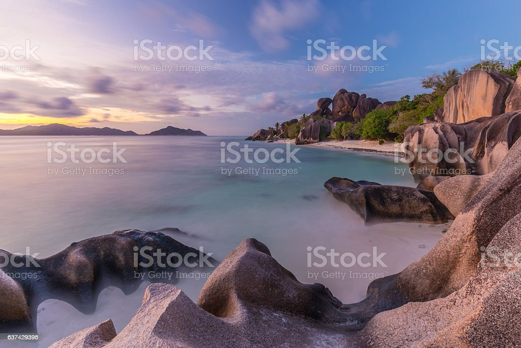 Dramatic sunset at Anse Source d'Argent beach, La Digue stock photo