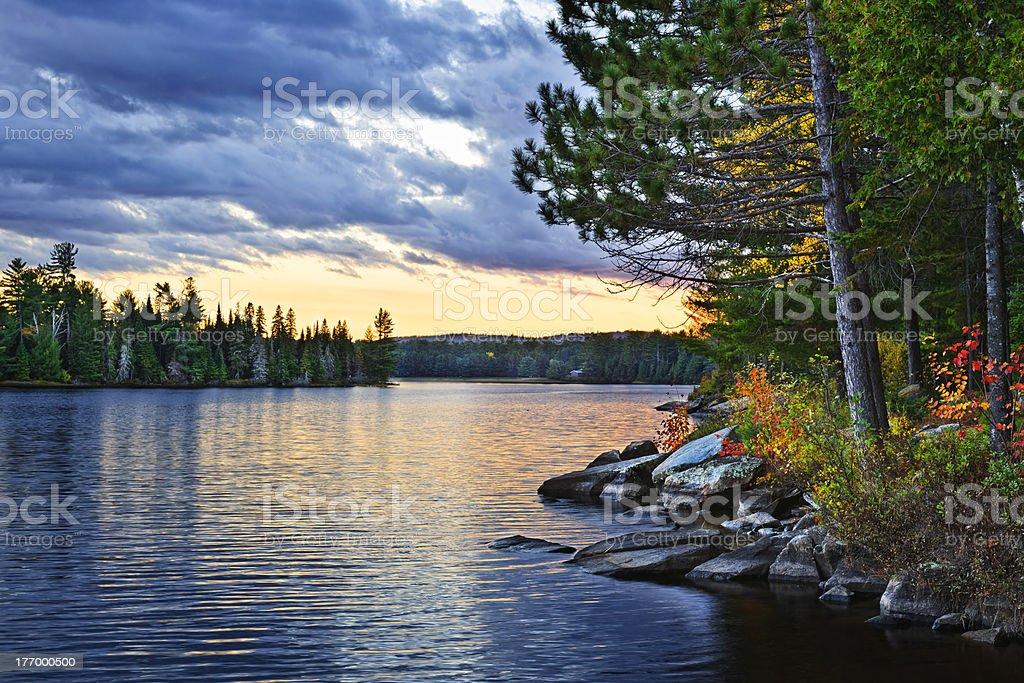 Dramatic sunset at lake royalty-free stock photo