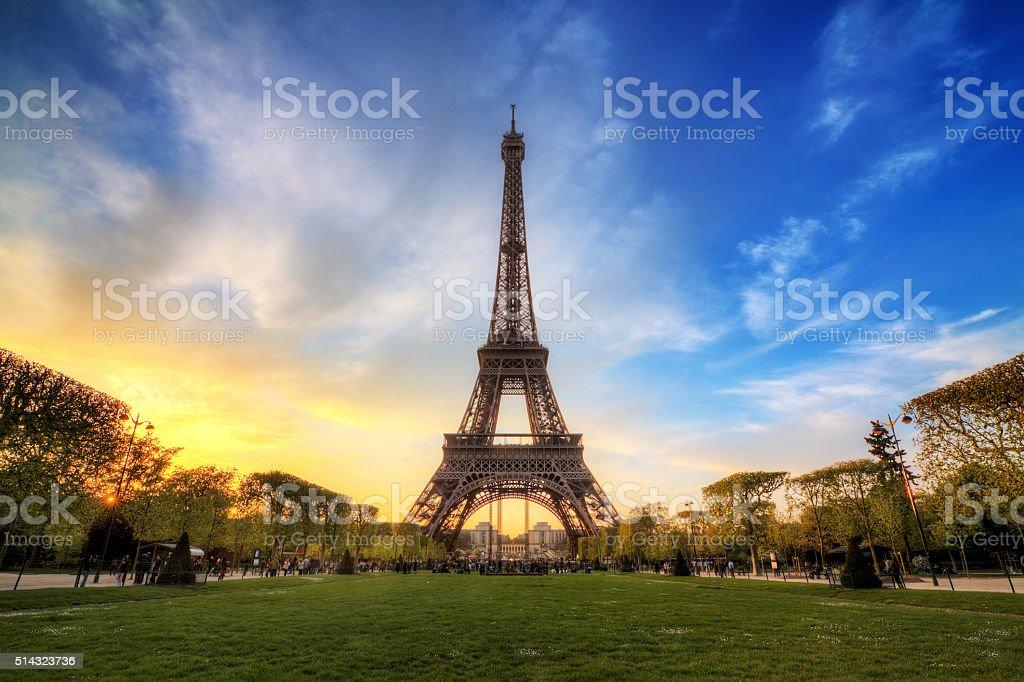 Dramatic sunset Eiffel spring stock photo