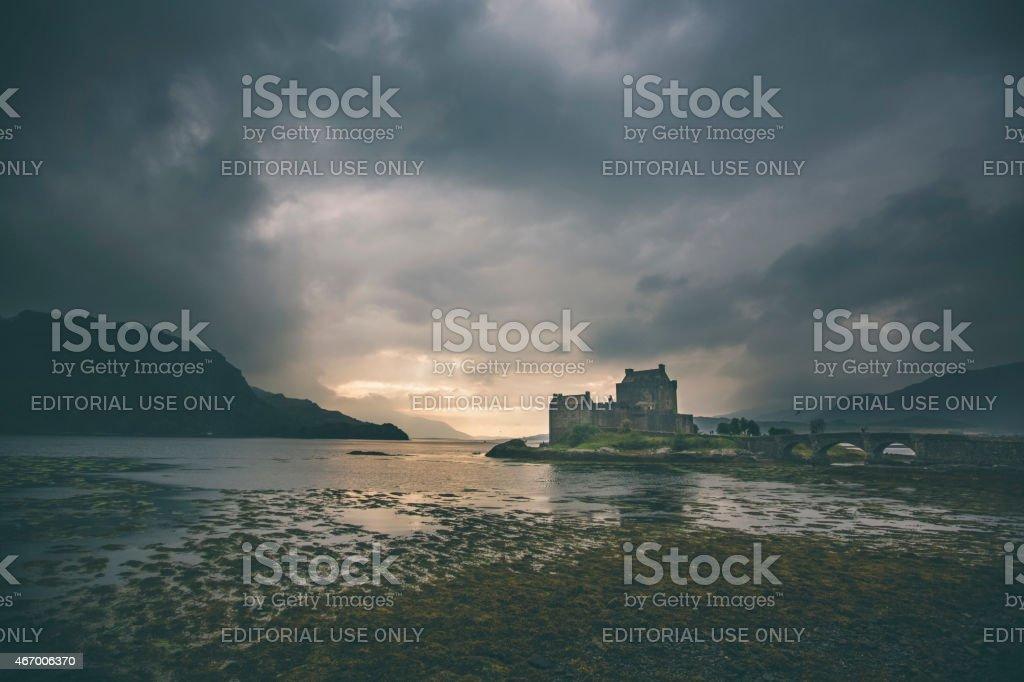 Dramatic sunset in Eilean Donan castle stock photo