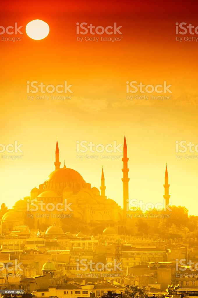 Dramatic Sunset in Istanbul stock photo