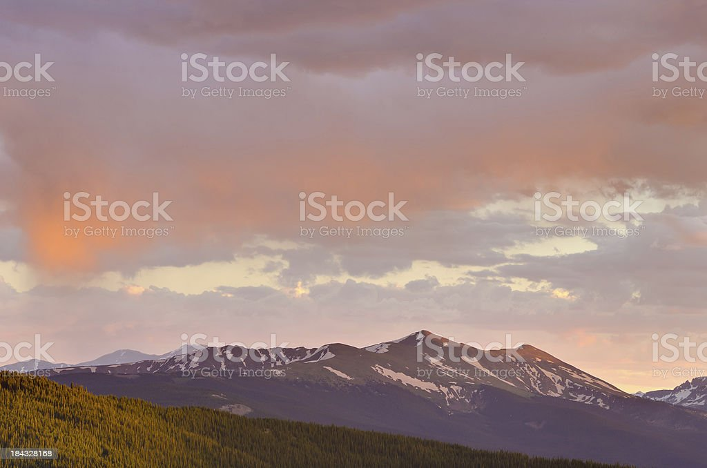 Dramatic Sunset in the Mountains stock photo